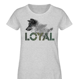 Loyal Wolf - Wood - Damen Organic Melange Shirt-6892