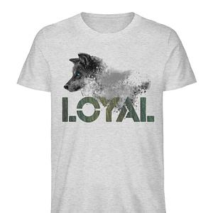 Loyal Wolf - Wood - Herren Organic Melange Shirt-6892